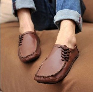 Fashion England Mens Casual Shoes Breathable Massage shoes Lace Driving Moccasin Flats Shoes Casual Leather Canvas shoes MX15 $28.99