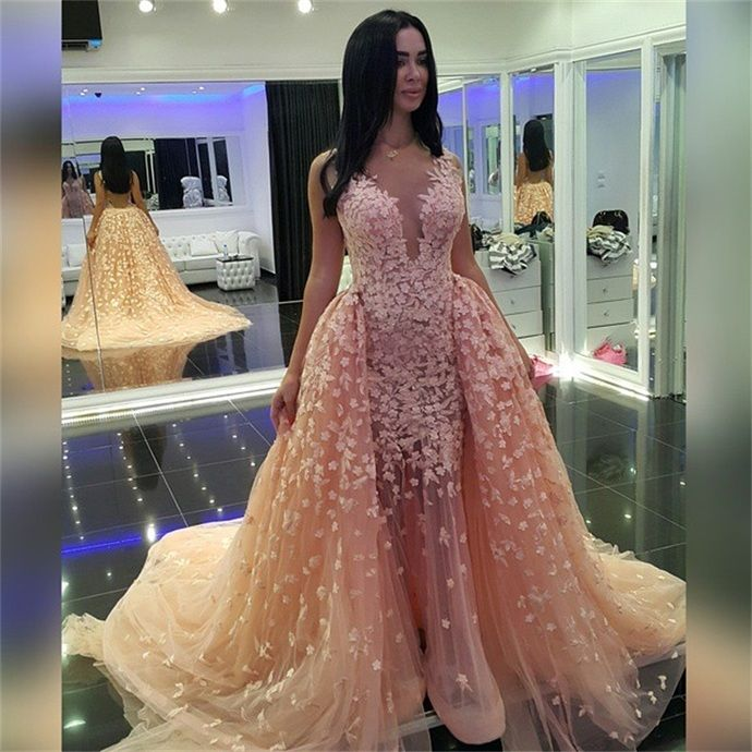 Sleeveless Tulle Lace Appliques Long Prom Dresses Gorgeous Sheer Long Champagne Evening Gowns Pageant Dresses For Women by fancygirldress, $289.00 USD