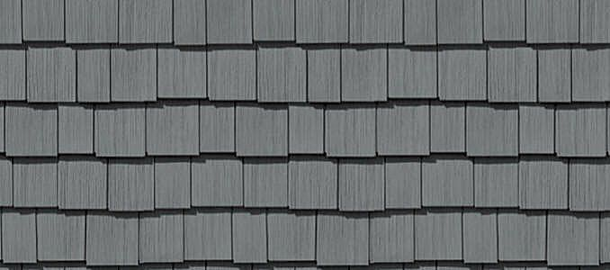 "Cedar Impressions® Double 7"" Staggered Perfection Shingles to replace the siding on the cottage - seafoam is close to 'cottage blue'"