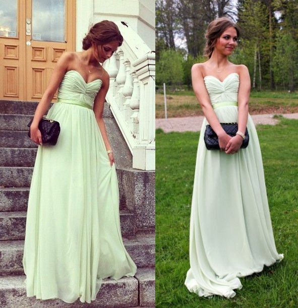 timeless sage sweetheart strapless ruched bodice floor length chiffon dress idress.co.nz