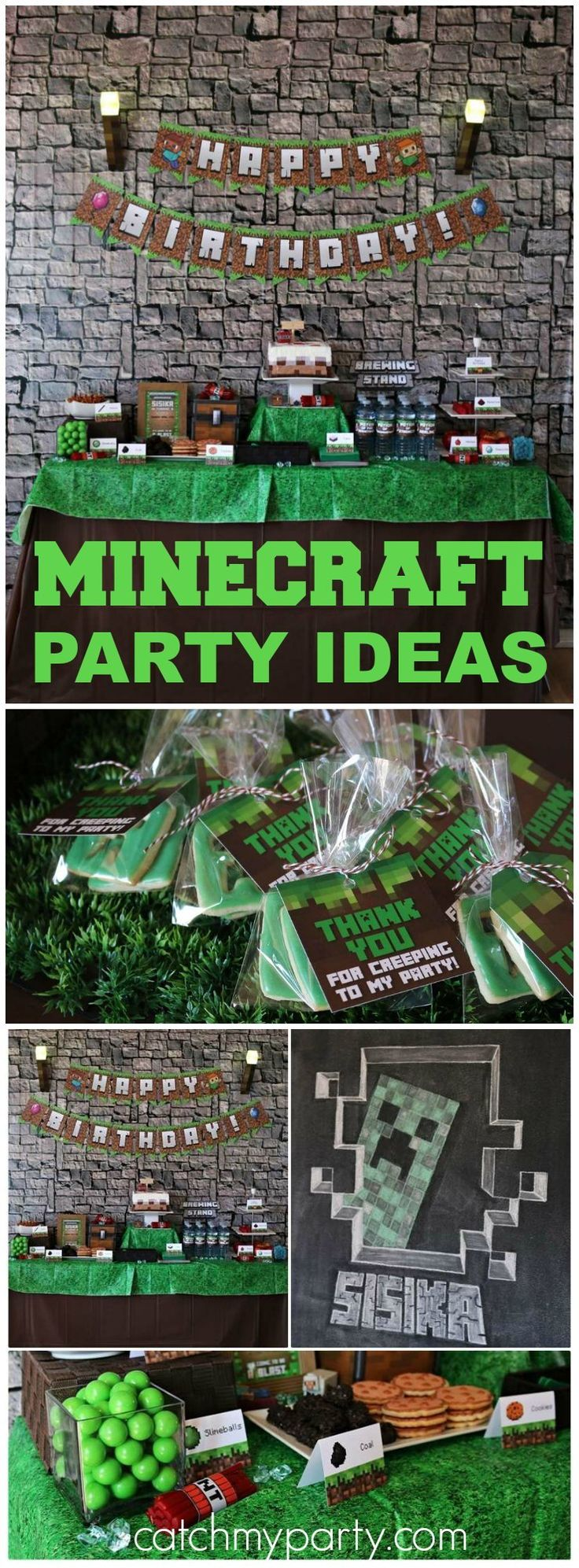 Check out this awesome Minecraft birthday party! See more party ideas at CatchMyParty.com!