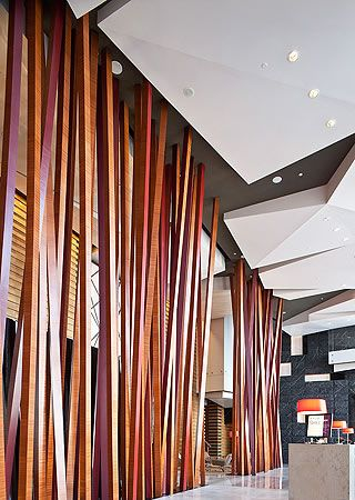 oversized angled room dividers Grand Hyatt Guangzhou, China by Peter Remedios of Remedios Studio