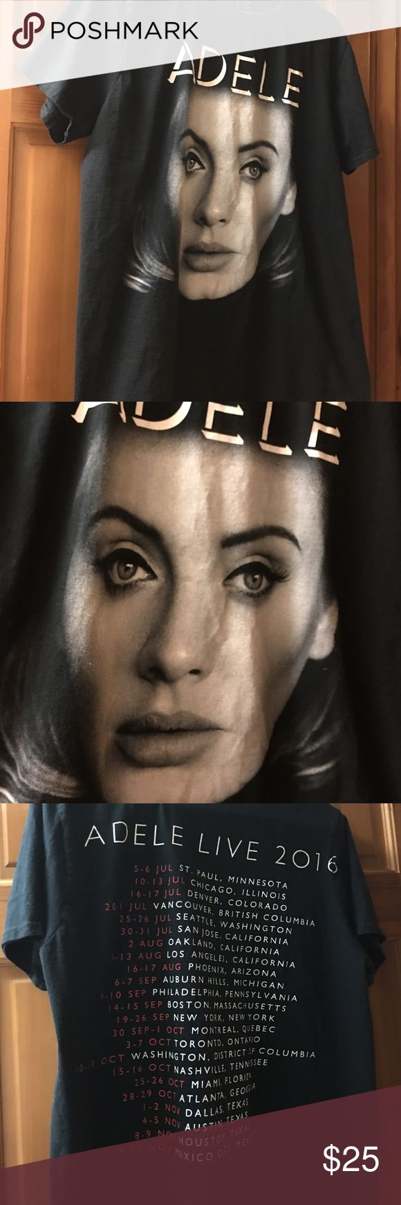 Adele 2016 tour tshirt Brand new Adele 2016 Tour Tshirt. Purchased from Seattle WA event. t shirt was washed, but never worn. Size L. Smoke free home. This is authentic not a fake shirt Adele Tops Tees - Short Sleeve
