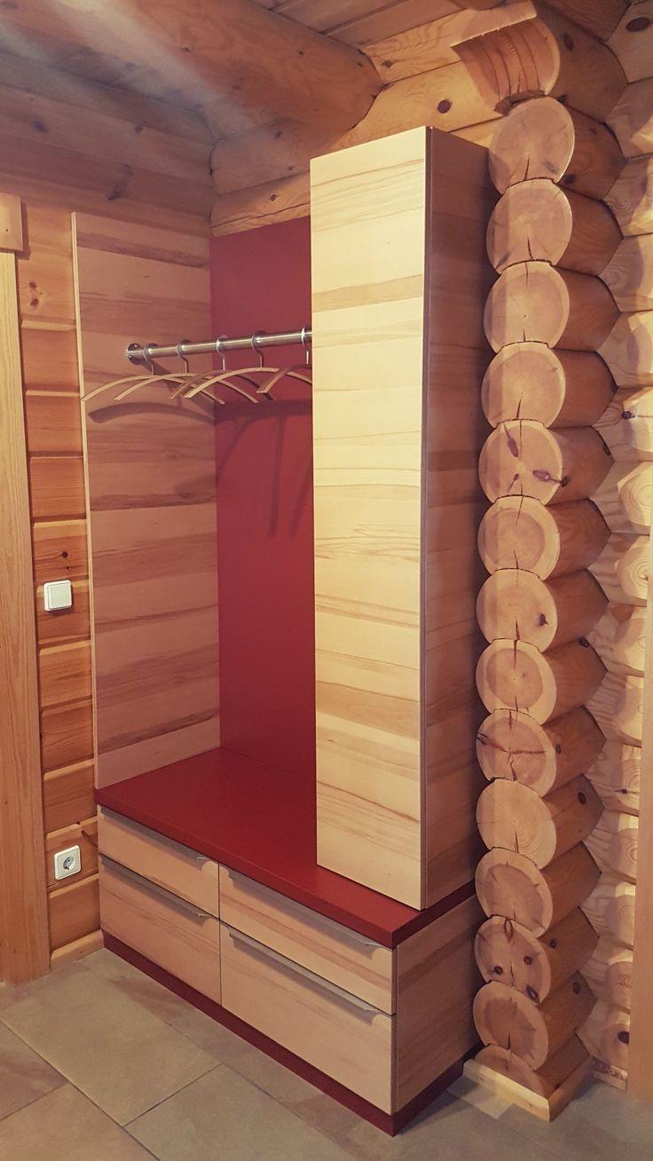 Garderobe, Kernbuche U0026 Rot,