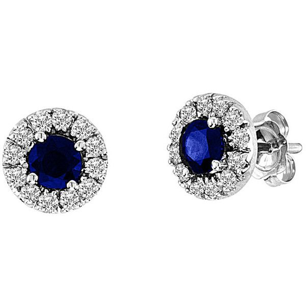 Suzy Levian 14K 0.93 Ct. Tw. Diamond & Sapphire Studs ($900) ❤ liked on Polyvore featuring jewelry, earrings, jewelry & watches, nocolor, sapphire stud earrings, diamond jewelry, 14 karat gold diamond earrings, round diamond earrings and 14k stud earrings