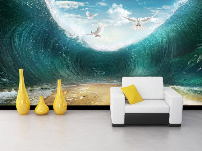 56 best images about papier peint 3d paysage on pinterest for Decoration chambre ocean