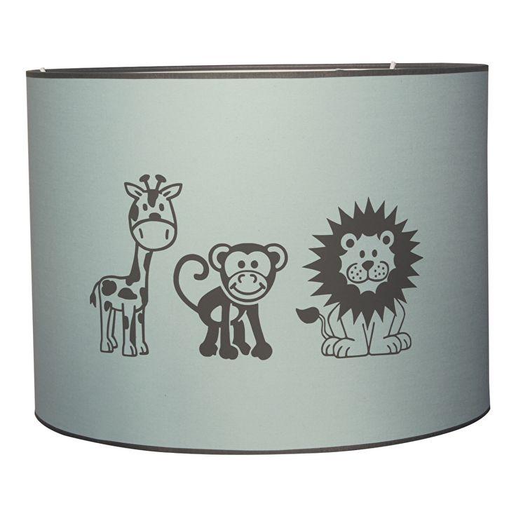 Lamp leeuw aap en giraffe in mintgroen Op deze mint / pastel groene hanglamp staan op de voor- en achterzijde drie vriendelijke jungle dieren. Een leeuw, aap en giraffe uitgevoerd in grijs. Kleuren kunnen in overleg worden gewijzigd. Verkrijgbaar in drie verschillende maten. kinderlamp kinderkamerverlichting hanglamp kinderkamer babykamer