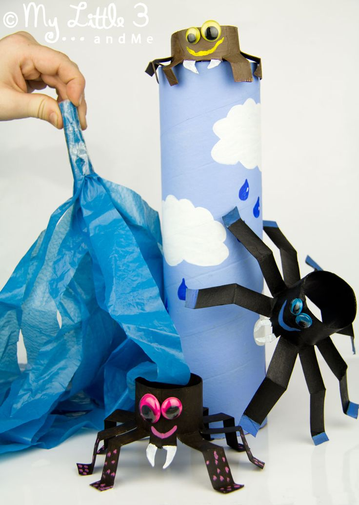 Make an Incy Wincy spider play set to bring the nursery rhyme to life.