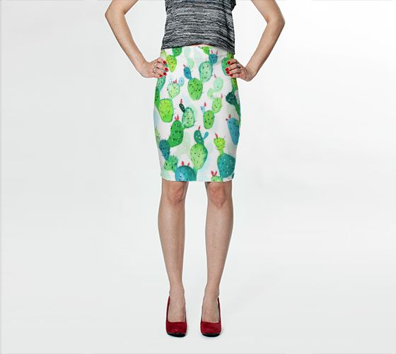 "Fitted Skirt ""Watercolour Cactus Print"" by Jenny Mhairi"