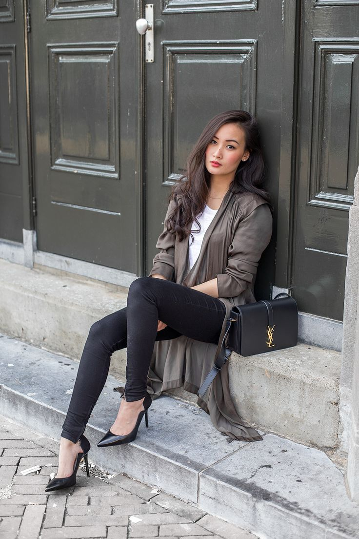 #date #night to everyday. #classy Rolled up shirt, black jeans + pumps, white shirt.