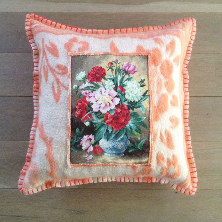 Pillow from woolen vintage blankets, handmade, Big by Beaudeco on Etsy