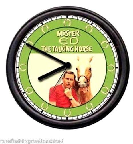 Mr-Mister-Ed-Retro-TV-Talking-Horse-Wall-Clock-Equestrian-Cowboy-Barn-Stall-Sign