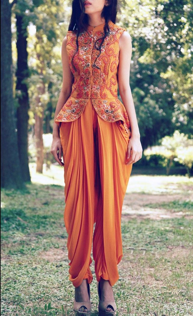 yellow embroidered jacket with dhoti pants