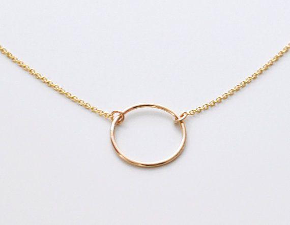Halo - gold gefüllt feinen offenen Kreis Halskette - einfache alltägliche Schmuck Frauen Geschenk