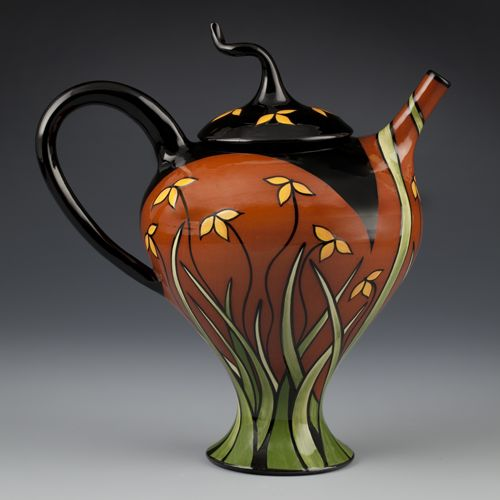 Marti Mocahbee teapot curved line drawing grasses pottery ceramics clay