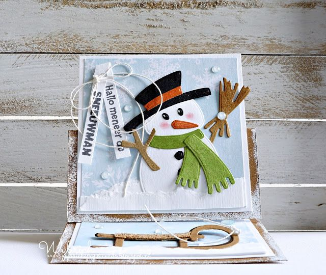 Handmade card by DT member Wybrich with Collectables Eline's Snowman (COL1413) & Eline's Sleigh and Floe (COL1415) from Marianne Design