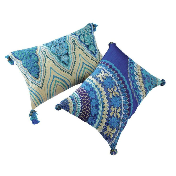 2 coussins indiens en coton bleus 30 x 45 cm et 33 x 43 cm JODHPUR