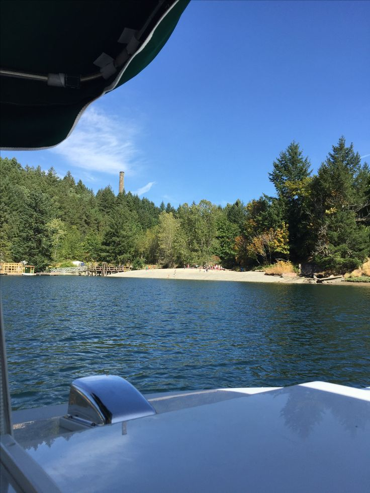 Butchart Gardens boat tour - Tod Inlet - View of newly created beach accessed from Gowlland Tod Provincial Park, Wallace Drive, Saanich, BC  - August, 2017