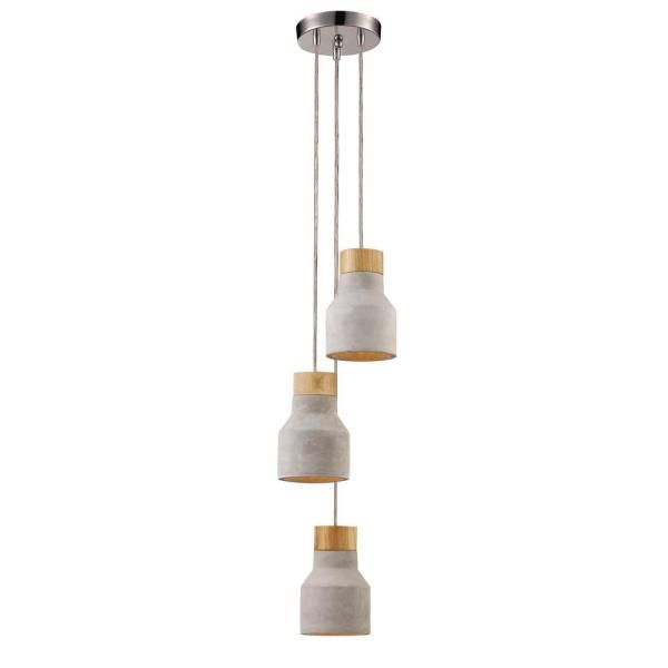Transglobe Wood And Concrete 3 Light 15 In Chrome Indoor Pendant Pnd 1026 The Home Depot In 2020 Concrete Pendant Light Indoor Pendant Wood Pendant Light
