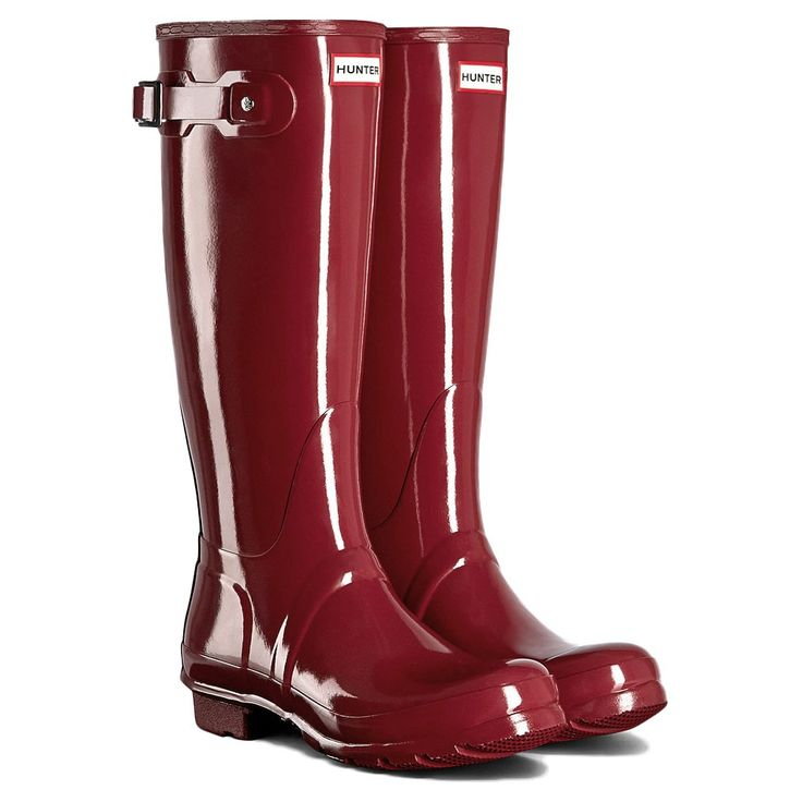 Hunter+Original+Long+Gloss+Wellington+Boots+Damson+