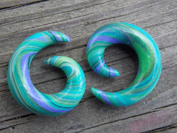 """Spiral Ear Gauges, Custom Ear Plugs, Dangle Plugs, Custom Spiral Ear Gauges, 4G(5mm)-5/8"""" (16mm), Additional Sizes Available $19.00+  http://www.etsy.com/listing/190188839/spiral-ear-gauges-custom-ear-plugs"""