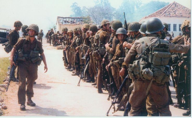 South African Paratroopers waiting to be evacuated after the battle of Cassinga in Angola