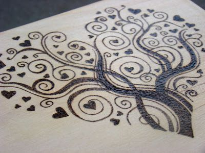 hearts on wedding chest - wood burned