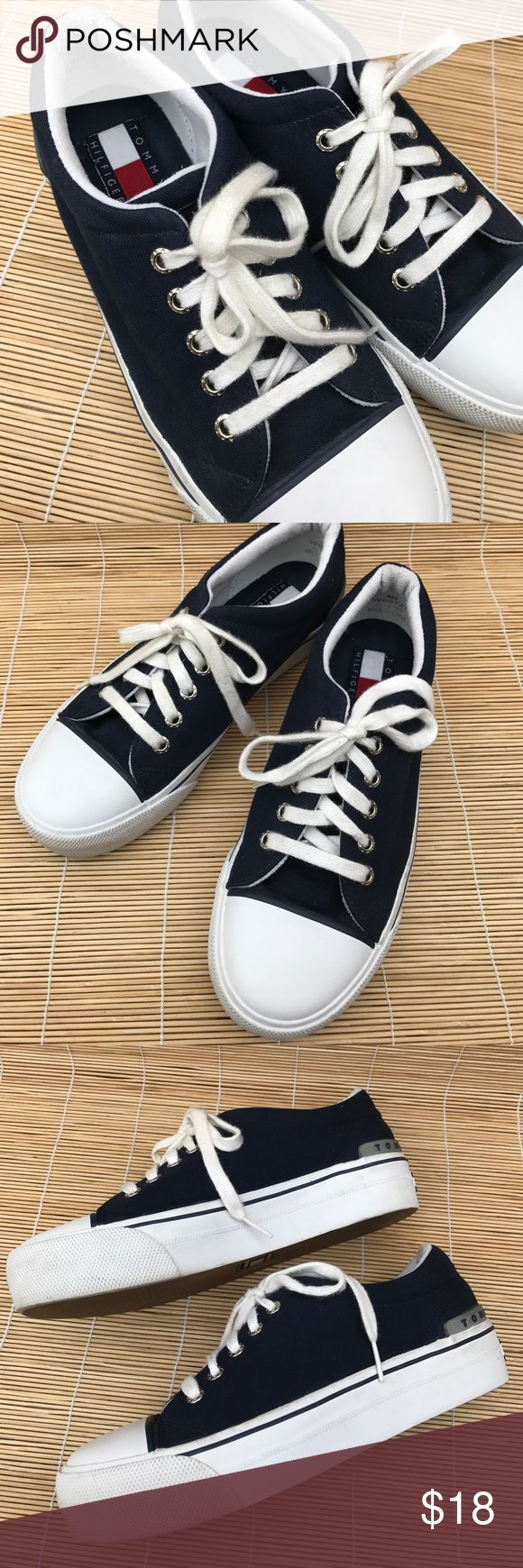 """Tommy Hilfiger Tennies size 8 Woman's TH Tennies. (They are an 8 and fit me - I am an 8). They are in good shape and have been pre loved! 1-1/2"""" heel. Tommy Hilfiger Shoes Sneakers"""