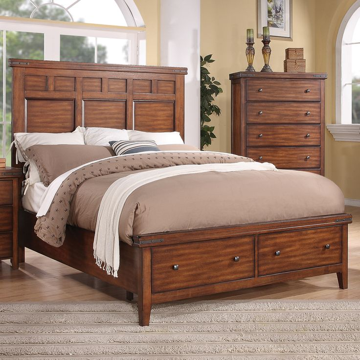 Mango Wood Panel Storage Bed by Winners Only Solid