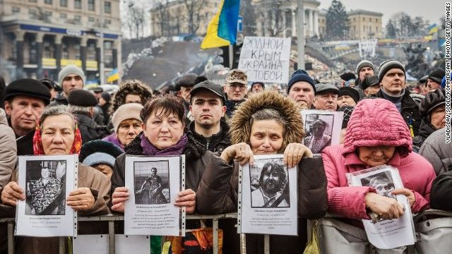 People attend a rally against Russia in Kiev's Independence Square in Kiev on March 2.