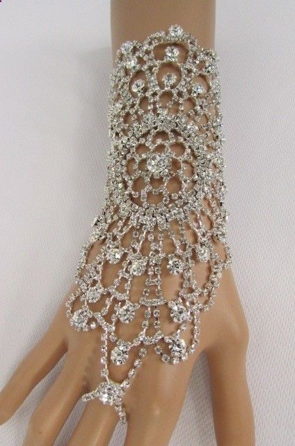 New Women Silver Metal Lace Rhinestones Slave Ring Fashion Bracelet Hand Chains #Unbranded #Chain