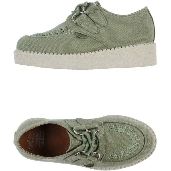 """THE FABULOUS"" CREEPERS Low-tops (€77) ❤ liked on Polyvore featuring shoes, sneakers, creepers, military green, stitch shoes, creeper shoes, low top, low profile shoes and olive green shoes"
