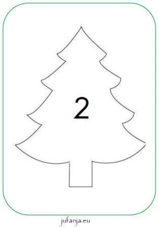 Kleikaarten kerst met cijfers 1 t/m 20