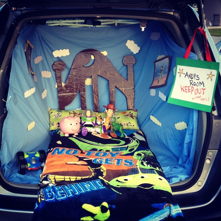 "Trunk or Treat idea. ""Andy's Room"" from Toy Story"