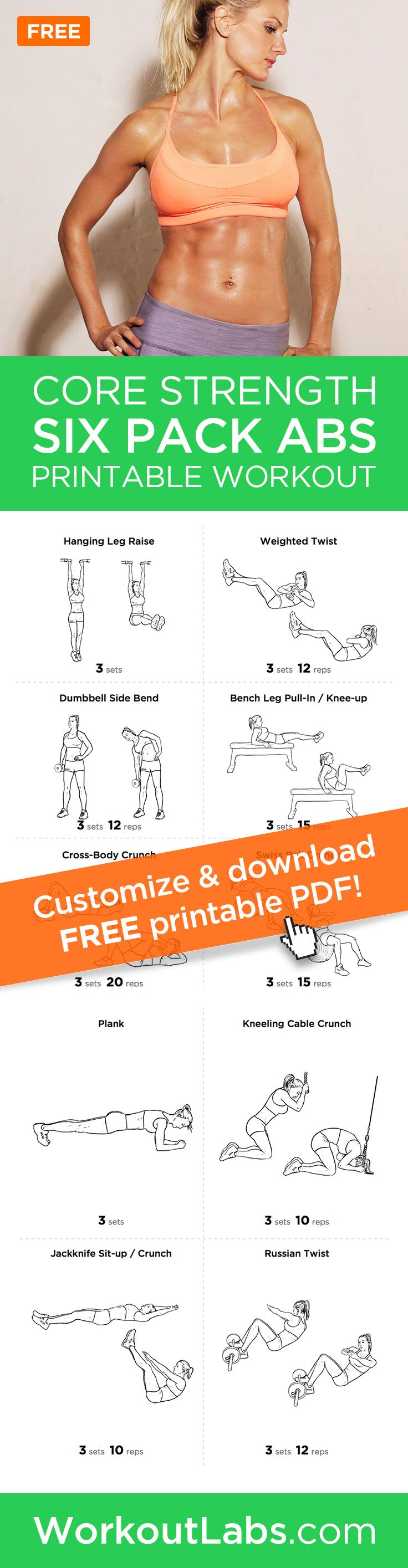 Six Pack Abs Core Strength Workout Routine for Men and Women –Want to get that perfect six pack? Try this comprehensive abdominal gym workout routine that will hit your upper and lower abs as well as obliques for a perfectly toned core.