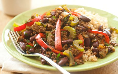 Cajun Beef Skillet Supper -- this easy recipe is earning raves at Whole Foods Market. Use 6 cups of cooked brown rice to serve 6.