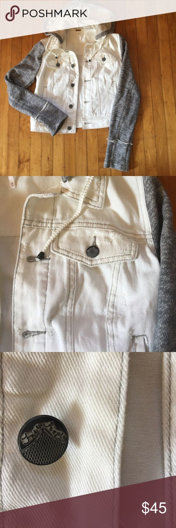 Free People Jacket with hood This is a super soft Kacey by Free People. The white vest is distressed and the sleeves are a soft stretchy cotton. The hood is removable as evidenced by the buttons in the photo. Free People Jackets & Coats
