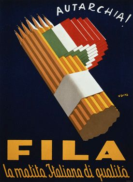 Fila is a brand of top quality Italian pencils. Vintage advertising poster featuring a group of pencils bound together and Italian flags at the side with the word autarchy at the top. During 1930s in Italy the autarchy politics aimed to reduce imports in all the fields and re-valuating the national resources at max. So the meaning is: use Fila pencils, the top quality Italian pencils!
