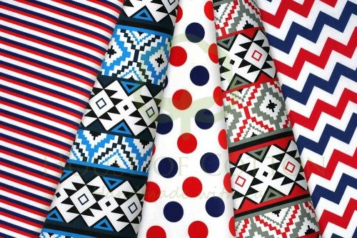 Indian pattern & feathers cotton fabric set / Zestaw indiański