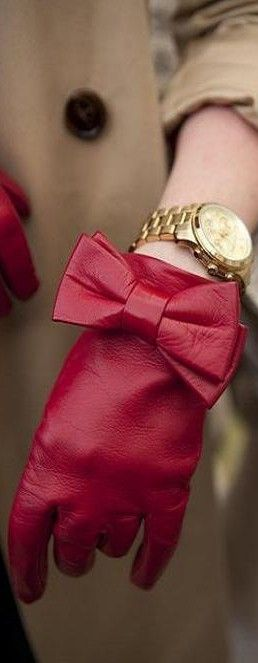 Red Leather Bow Glove