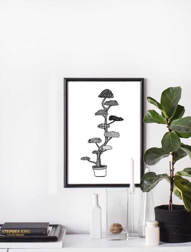 Cloud Tree Print Botanical Illustration Japanese Garden Niwaki