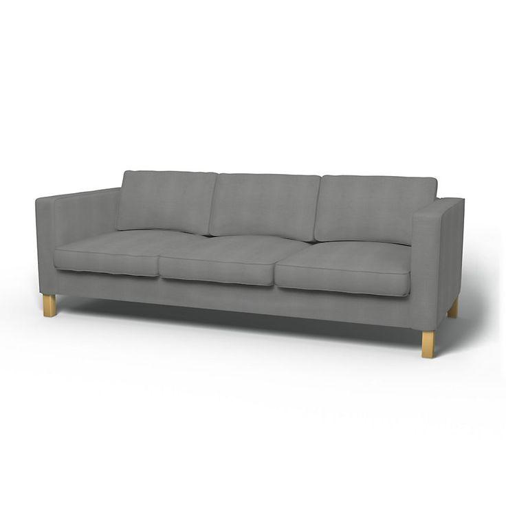 Karlanda, Sofa Covers, 3 Seater, Regular Fit using the fabric Panama Cotton Zinc Grey
