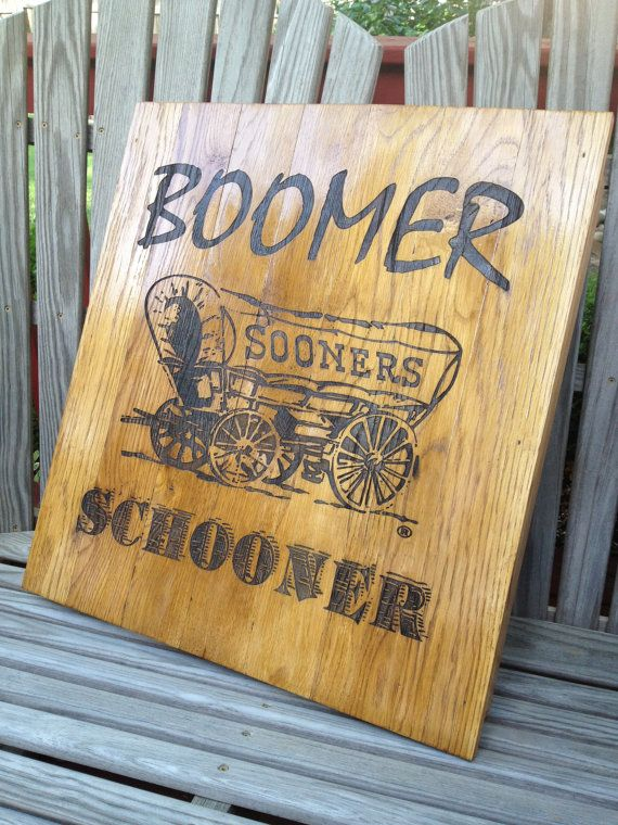 Oklahoma Sooner Schooner 22.5 wide x 24.5  tall by LaserZStudio