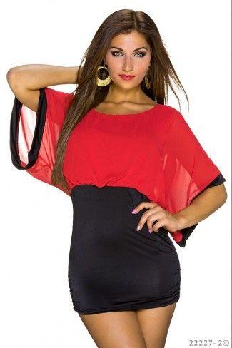 Εξώπλατο μίνι φόρεμα με σιφόν ύφασμα - Κόκκινο Μαύρο