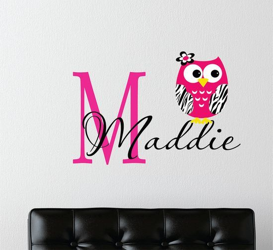 Childrens decor zebra owl wall decal with name baby nursery wall art girls teen bedroom - Wall decor girl nursery ...
