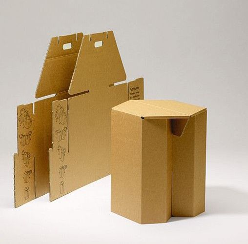 Papp-Hocker MAKS, natur, 4 Stück - Pappmöbel – Shop für Möbel aus Pappe von Stange Design