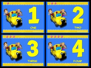 NUMBER SIGNS AND CARDS: FUN BUS- FULL PAGE AND QUARTER PAGE SET (NUMBERS 1 - 20) - TeachersPayTeachers.com
