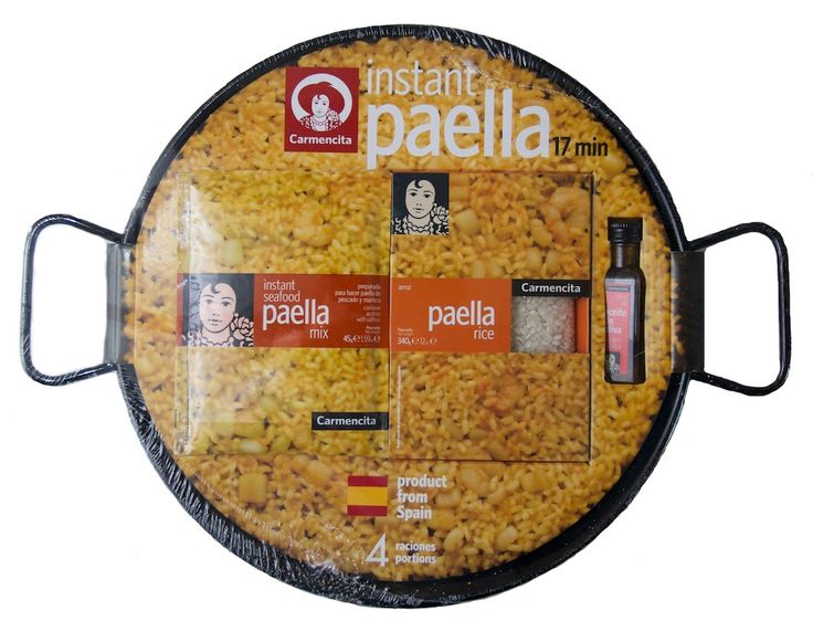 All the essentials you need to start making paella at home. A great starter kit or an original present for a foodie. Contains: 1 x 32cm enamelled steel paella pan (appox. 4 person), 1 sachet of 'Instant Seafood Paella Mix' 45 g, 1 x box of rice 340 g and 30ml of extra virgin olive oil.