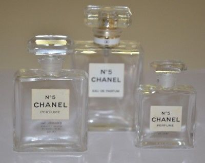 CHANEL NO. 5 PERFUME COLLECTIBLE EMPTY PERFUME BOTTLES - SET OF 3