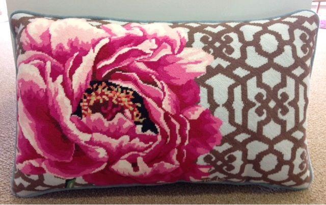 Needlepoint rose pillow